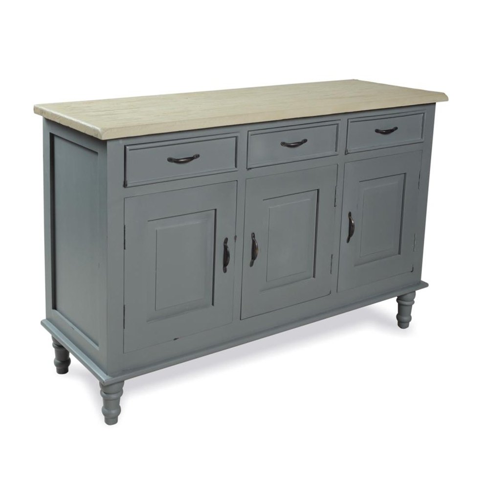 Inadam Furniture – Sideboard 3 Door 3 Drawer – Chic Dark Grey With Regard To Recent Antique Walnut Finish 2 Door/4 Drawer Sideboards (#10 of 20)