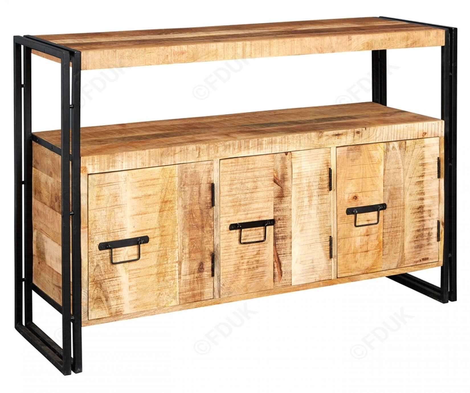 Indian Hub Cosmo | Industrial Large 3 Door Sideboard Throughout Best And Newest Industrial 3 Drawer 3 Door Sideboards (#10 of 20)
