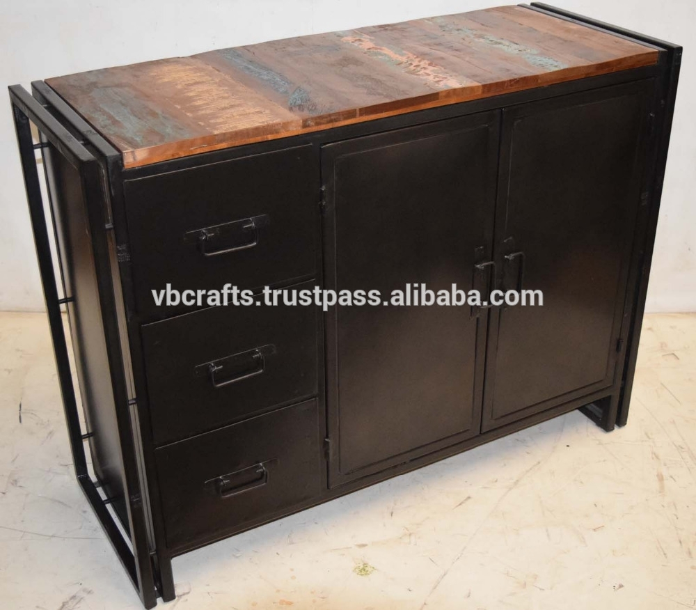 Inspiration about Industrial Metal Sideboard With Recycled Wood Sideboard – Buy Regarding Recent Corrugated Metal Sideboards (#8 of 20)