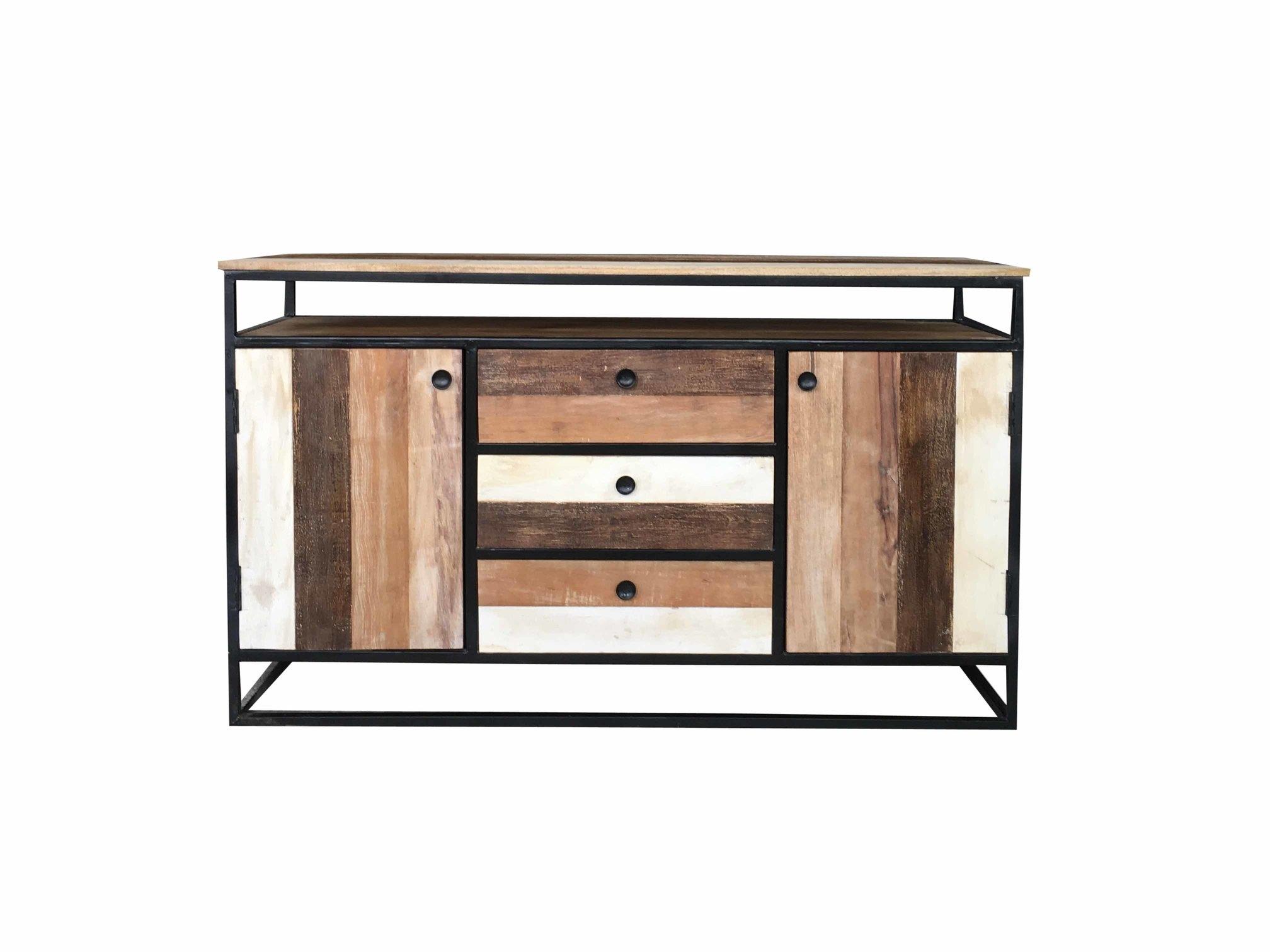 Industrial Reclaimed Mango Wood 2 Door 3 Drawer Sideboard With Metal Within Current Mango Wood 2 Door/2 Drawer Sideboards (#8 of 20)