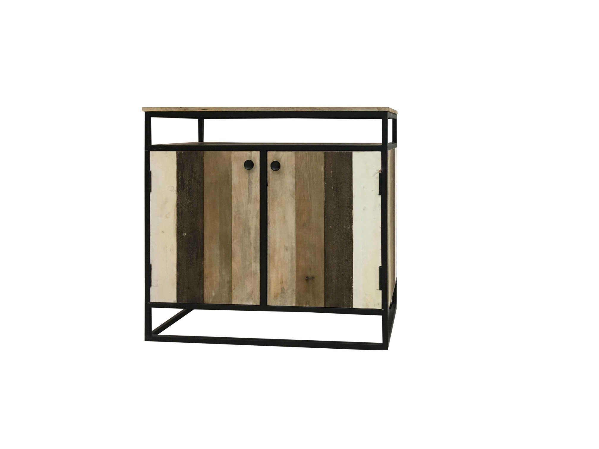 Inspiration about Industrial Reclaimed Mango Wood 2 Door Sideboard With Metal Frame Pertaining To 2018 Metal Framed Reclaimed Wood Sideboards (#10 of 20)
