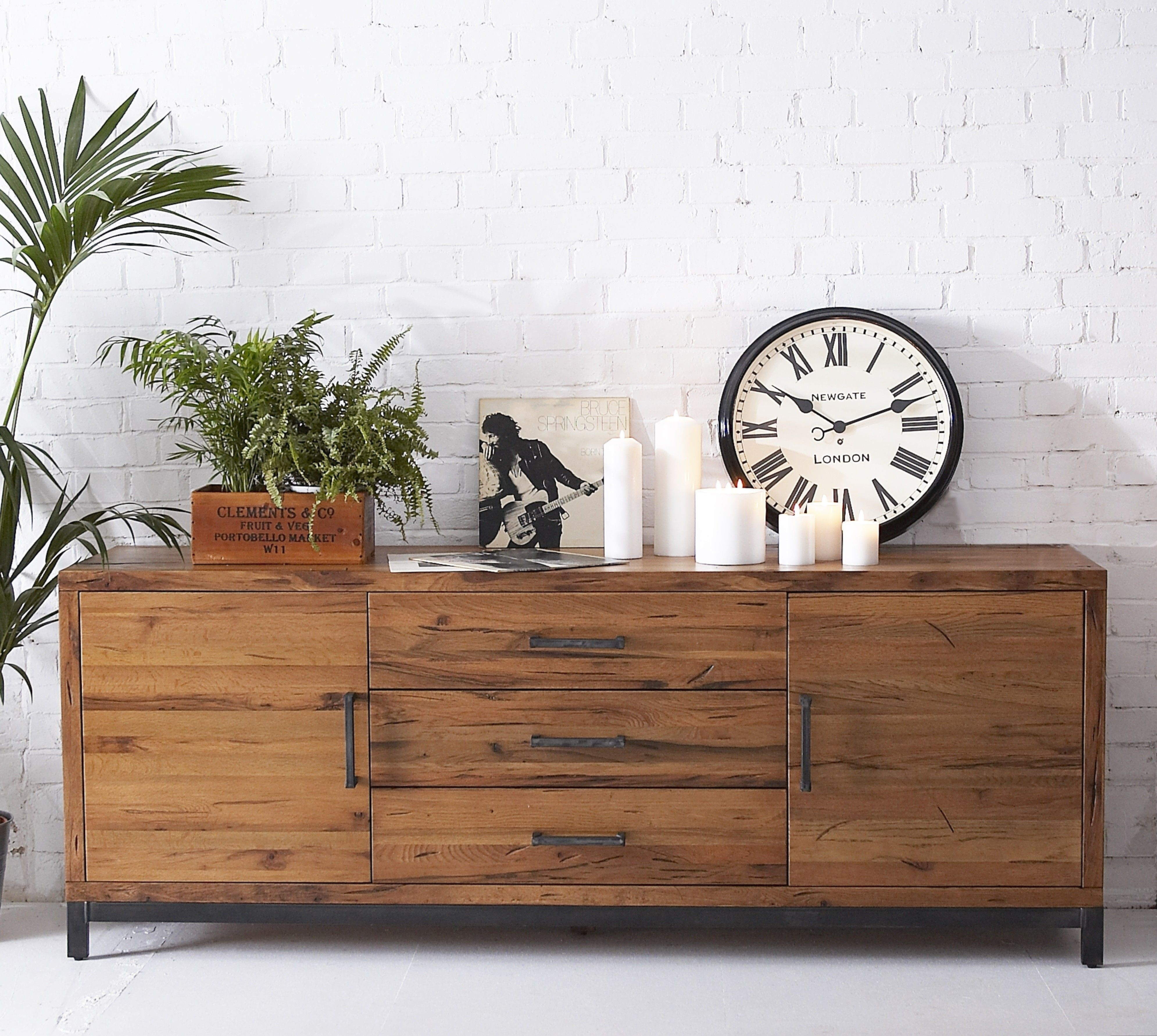 Industrial Reclaimed Solid Oak Large Sideboard | Furniture4yourhome With Most Recent Reclaimed Pine Turquoise 4 Door Sideboards (View 18 of 20)