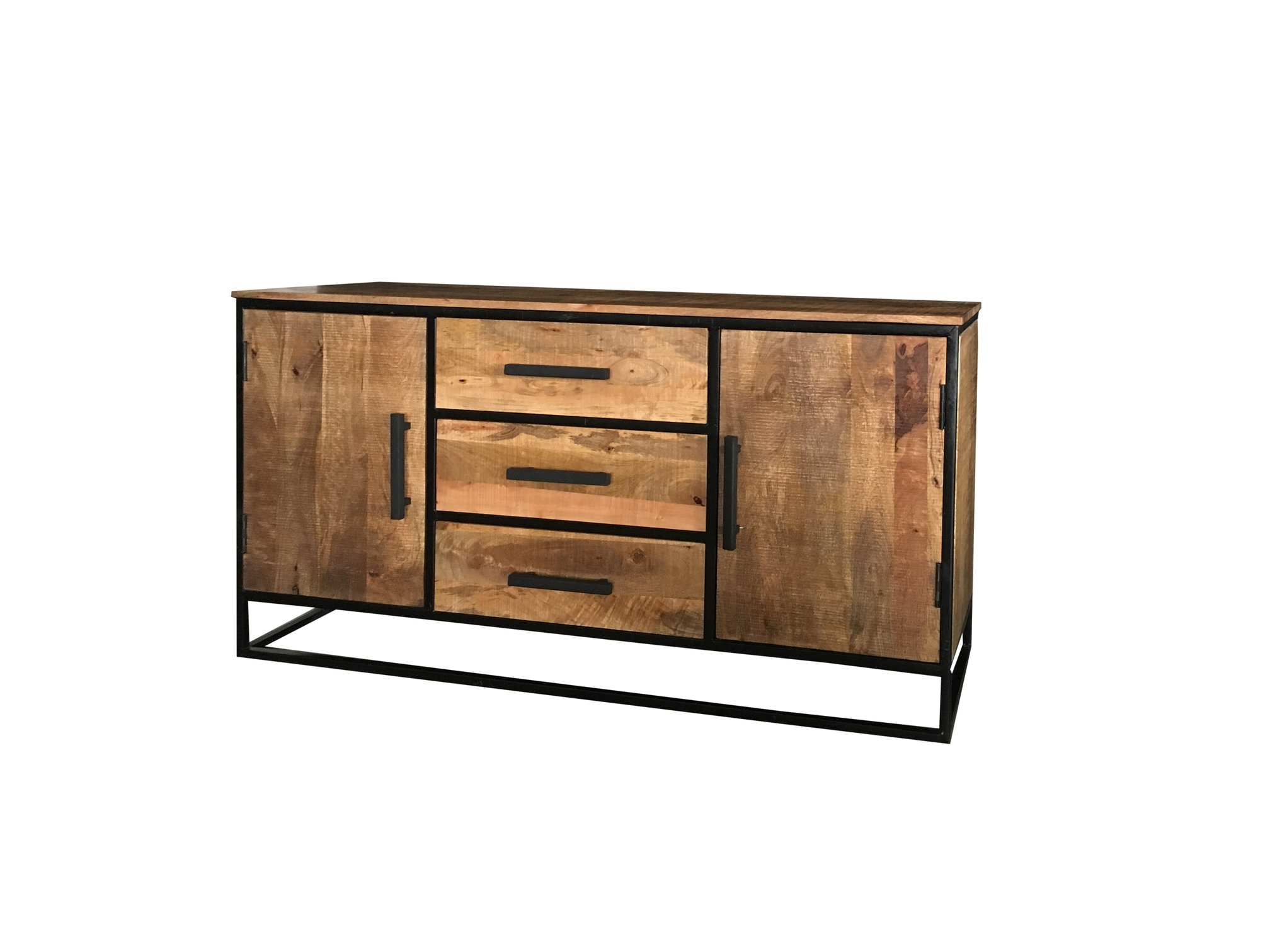 Industrial Style Light Mango Wood 2 Door 3 Drawer Sideboard With With Most Up To Date Industrial 3 Drawer 3 Door Sideboards (#12 of 20)