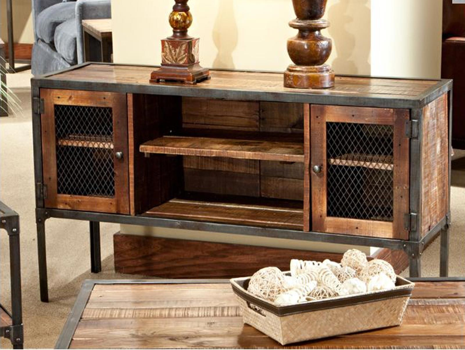 Inspiration about Iron Reclaimed Wood Entertainment Center | Rustic Industrial Within Recent Reclaimed Sideboards With Metal Panel (#14 of 20)