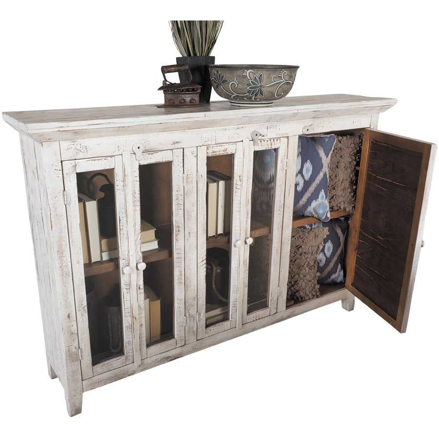 """Isabella 72"""" Vintage White Door Console 