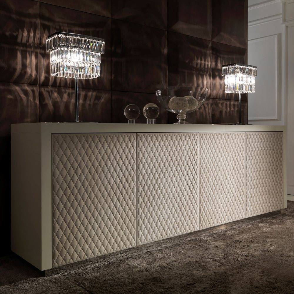 Italian Designer Lacquered Quilted Leather Sideboard | Love Things For 2018 Gunmetal Perforated Brass Sideboards (#16 of 20)