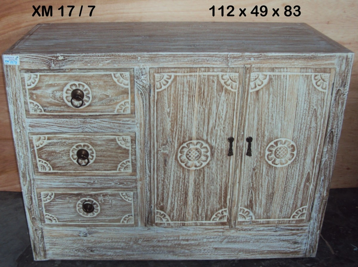 Java 3 Drawer Vanity Sideboard Whitewashed | Furniture Australia For Recent White Wash Carved Door Jumbo Sideboards (View 3 of 20)
