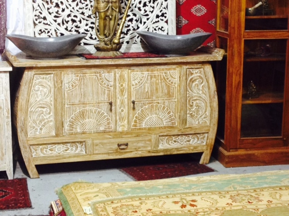 Java One Drawer Sideboard Whitewashed | Furniture Australia With Latest White Wash Carved Door Jumbo Sideboards (View 16 of 20)