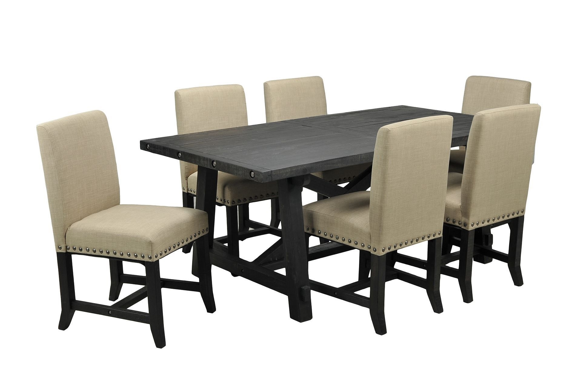 Jaxon 7 Piece Rectangle Dining Set W/upholstered Chairs, Café With Regard To Famous Jaxon Grey Upholstered Side Chairs (#6 of 20)