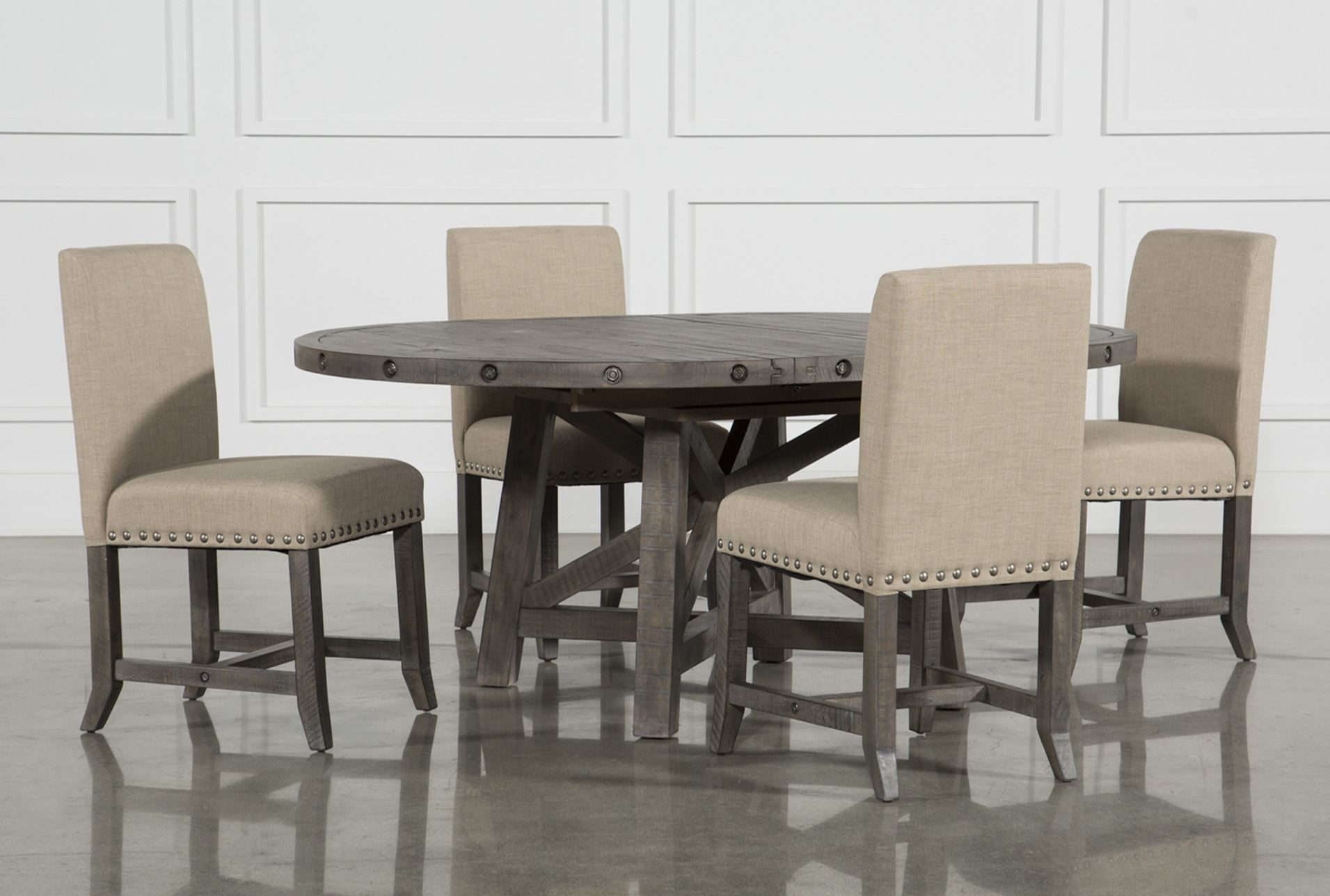 Jaxon Grey 5 Piece Round Extension Dining Set W/upholstered Chairs Intended For Most Recently Released Pinot Side Chairs (#8 of 20)