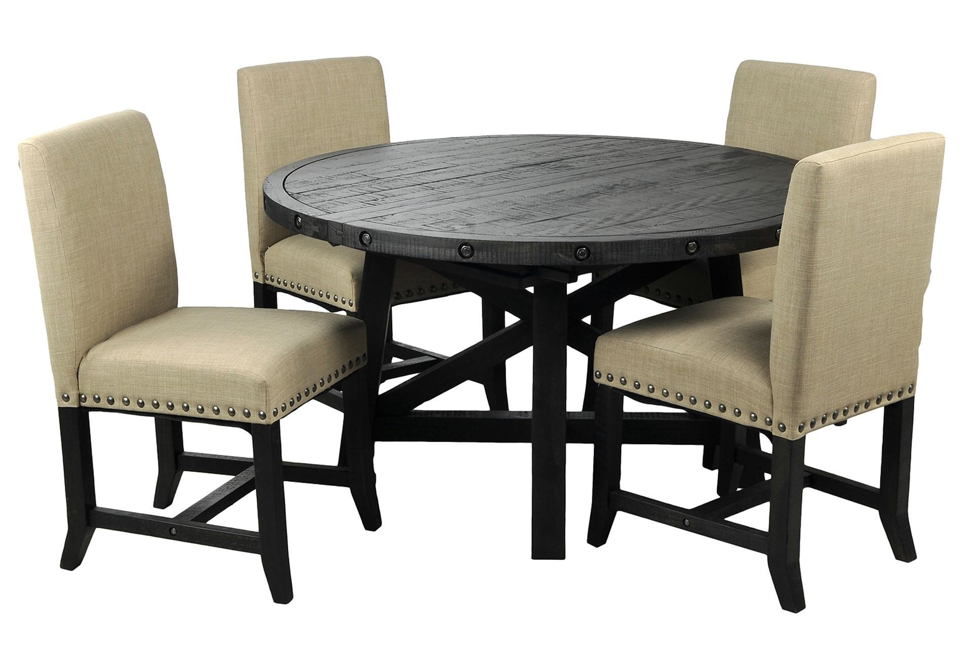 Jaxon Grey Wood Side Chairs In Trendy Jaxon 5 Piece Round Dining Set Wupholstered Chairs Dining Set With (View 7 of 20)
