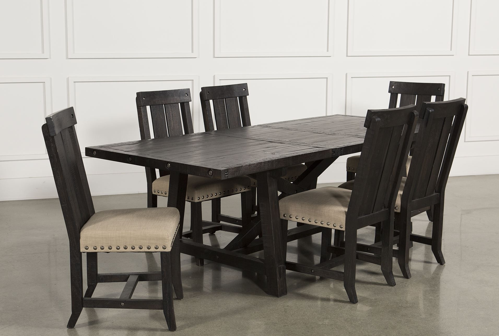 Jaxon Grey Wood Side Chairs Inside Best And Newest Jaxon 7 Piece Rectangle Dining Set W/wood Chairs (#8 of 20)