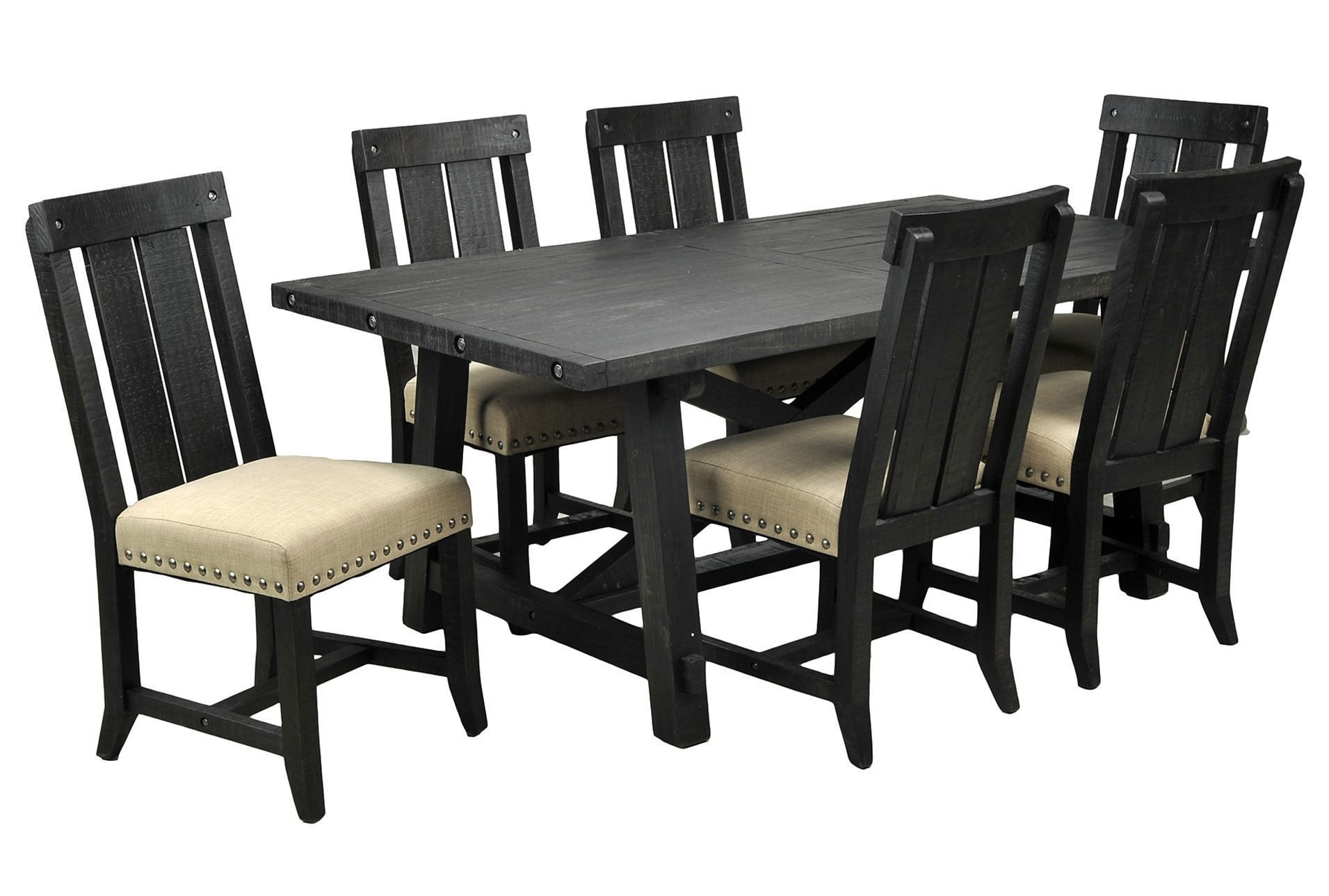 Jaxon Grey Wood Side Chairs Throughout Recent Jaxon 7 Piece Rectangle Dining Set W/wood Chairs (#9 of 20)