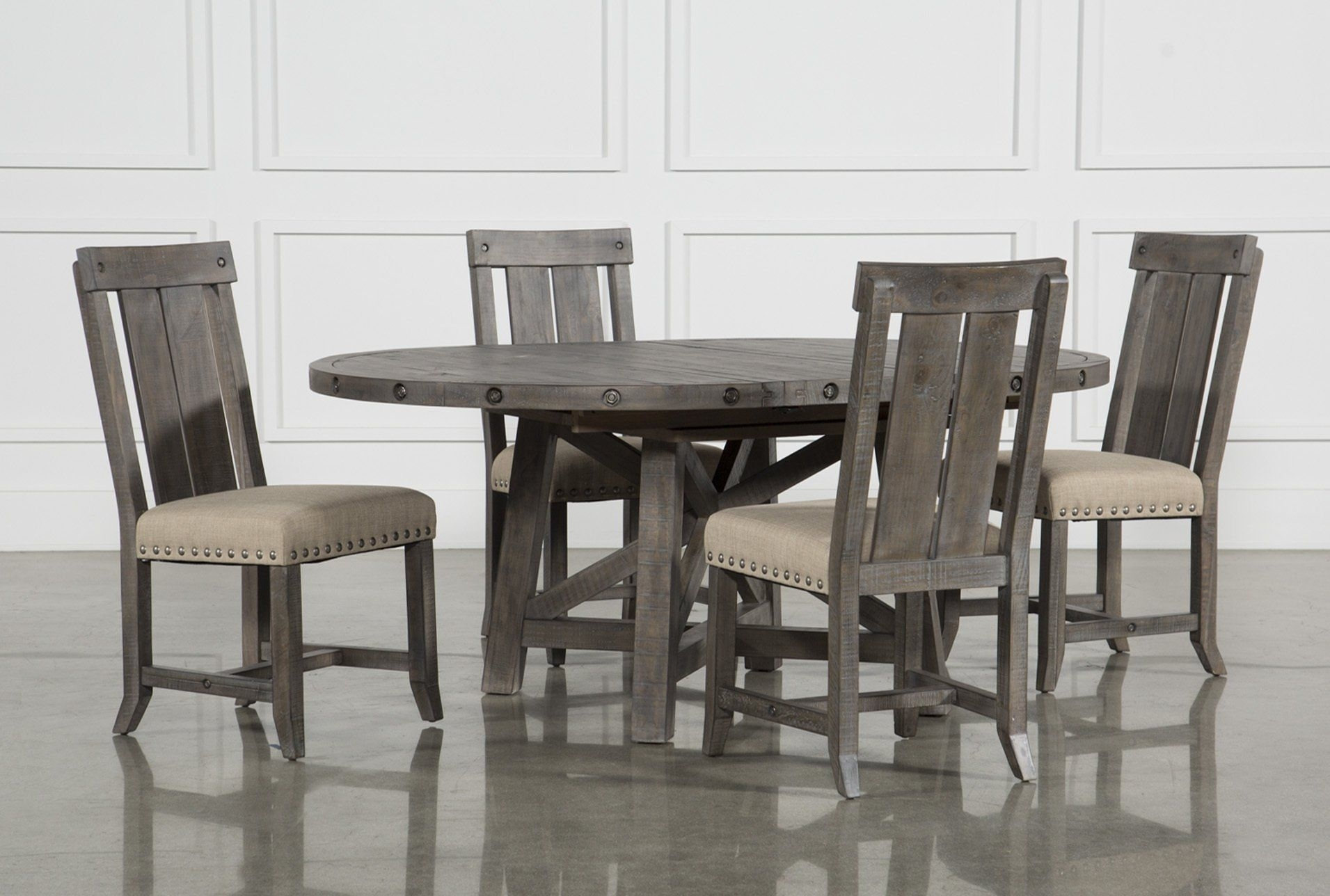 Jaxon Grey Wood Side Chairs Within Trendy Jaxon Grey 5 Piece Round Extension Dining Set W/wood Chairs (#10 of 20)