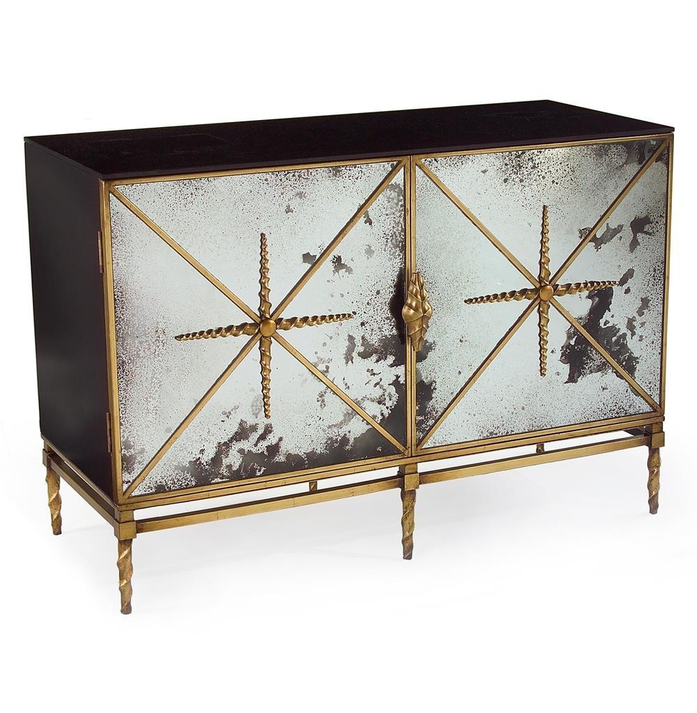 John Richard Adalyn Hollywood Regency Antique Mirror Gold Black 2 Intended For Newest Aged Mirrored 2 Door Sideboards (#15 of 20)