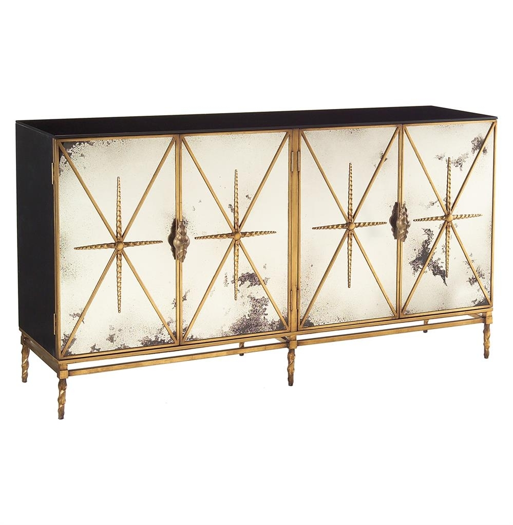 John Richard Adalyn Hollywood Regency Antique Mirror Gold Black 4 Regarding Latest Aged Mirrored 4 Door Sideboards (#14 of 20)