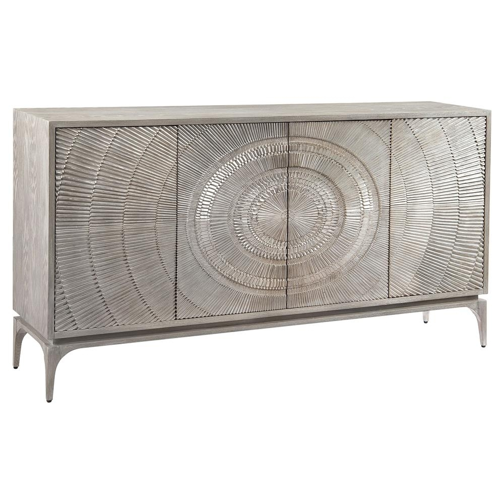 John Richard Laila Regency Radiating Silver Grey Oak Sideboard Inside Most Current Black Oak Wood And Wrought Iron Sideboards (#10 of 20)