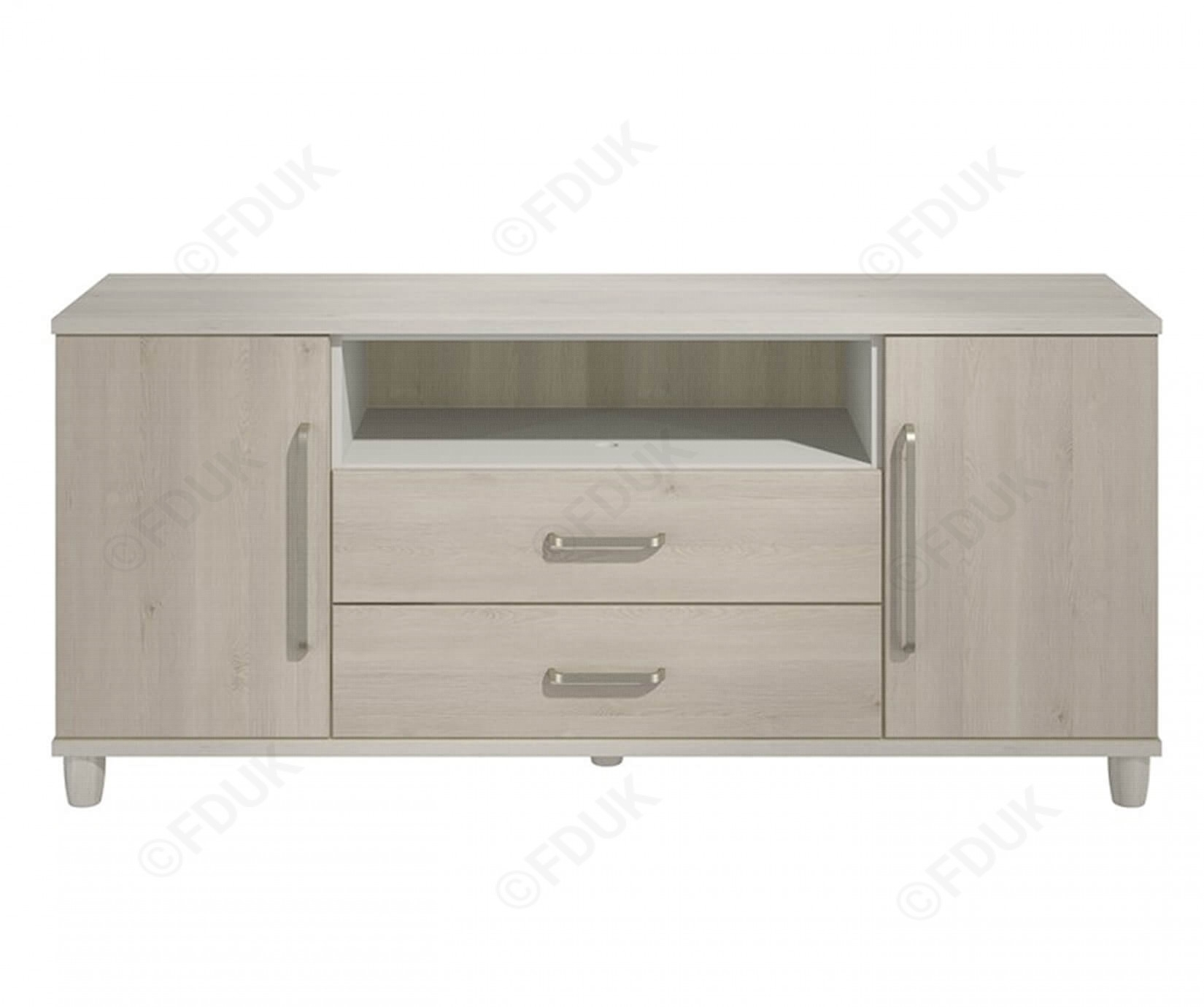 Kt Moda | Cashmere And Elm 2 Door 2 Drawer Sideboard Regarding Current 2 Door Mirror Front Sideboards (#9 of 20)