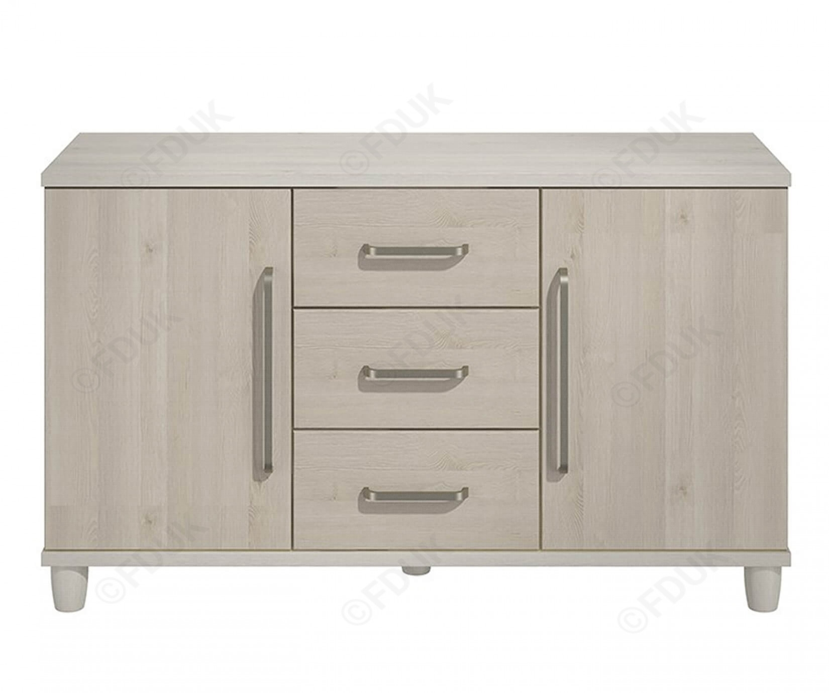 Kt | Moda Cashmere And Elm 2 Door 3 Drawer Sideboard Pertaining To Most Current 3 Drawer/2 Door Sideboards (#13 of 20)