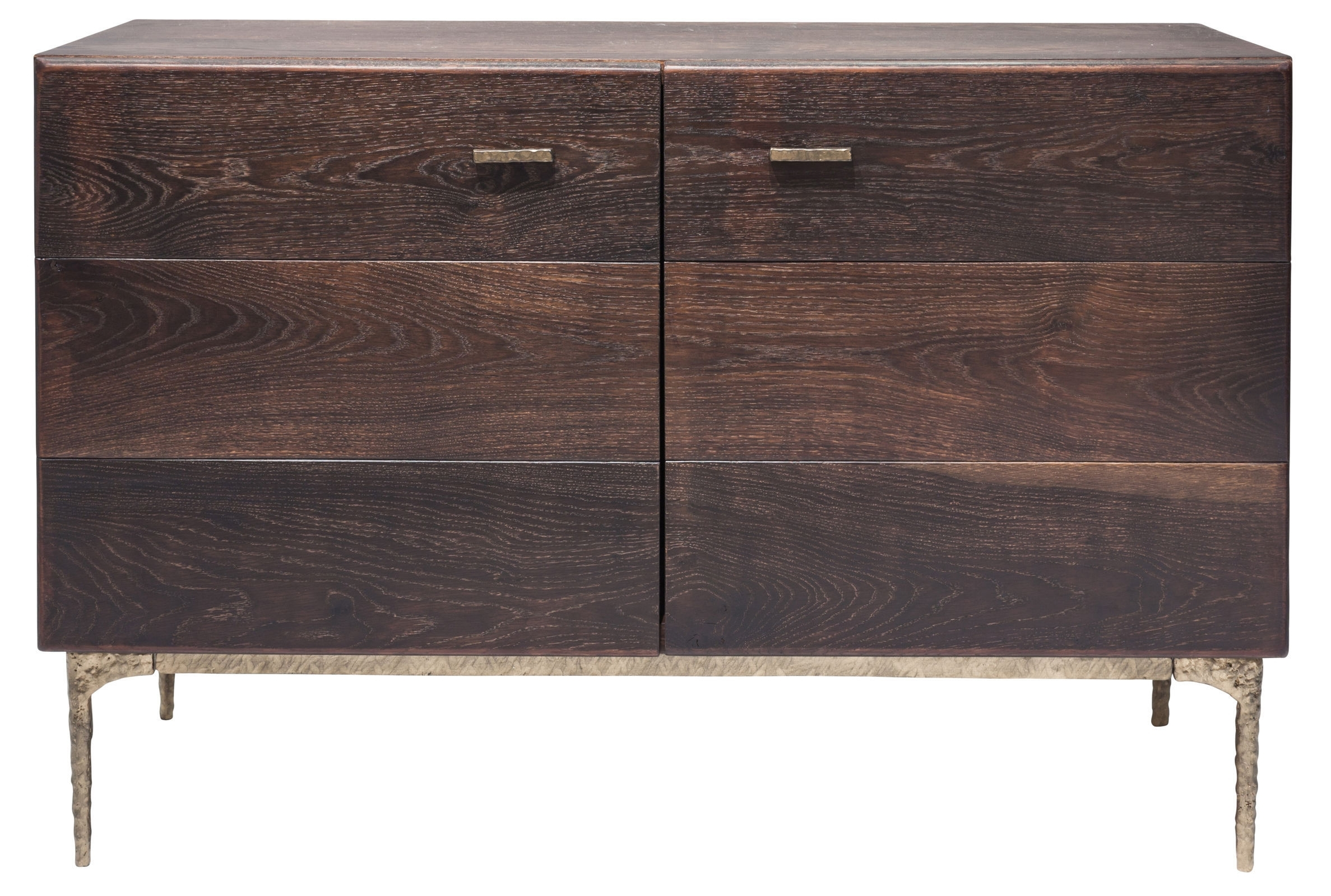 Kulu Sideboard Buffet In Seared Oak And Gilded Bronze Cast Iron Legs Intended For 2018 Black Oak Wood And Wrought Iron Sideboards (#11 of 20)