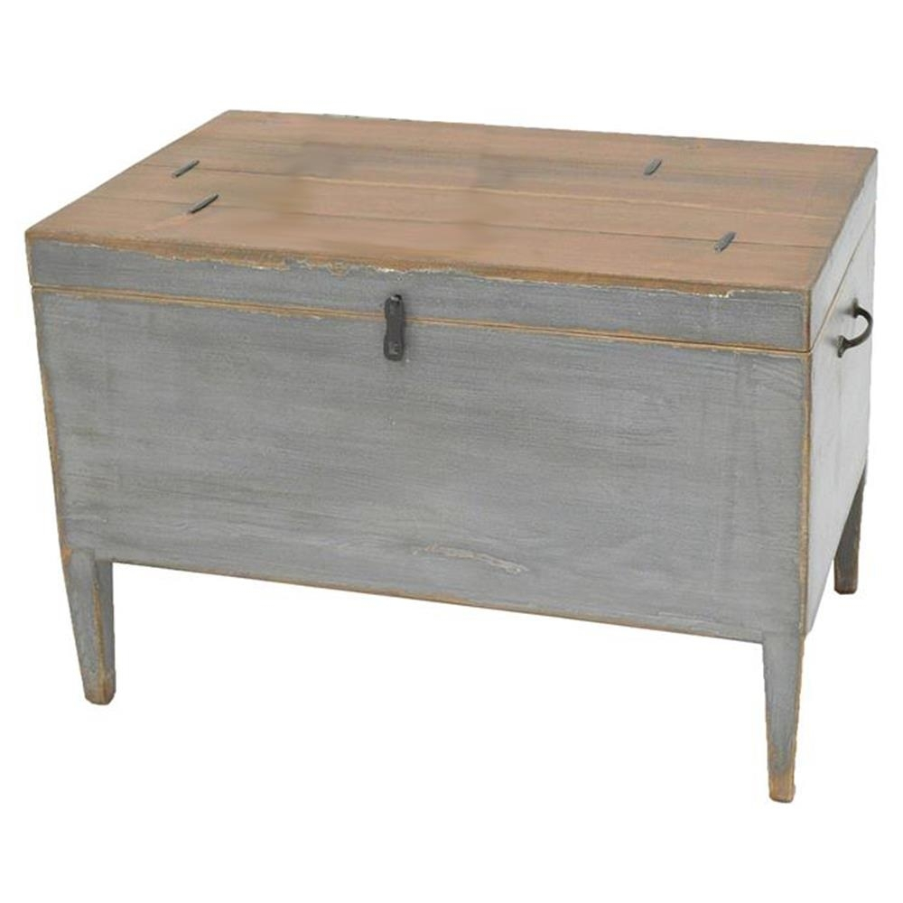 Kyrah Rustic French Grey Reclaimed Pine Wood Trunk Side Table Within 2017 Reclaimed Pine & Iron 72 Inch Sideboards (View 19 of 20)