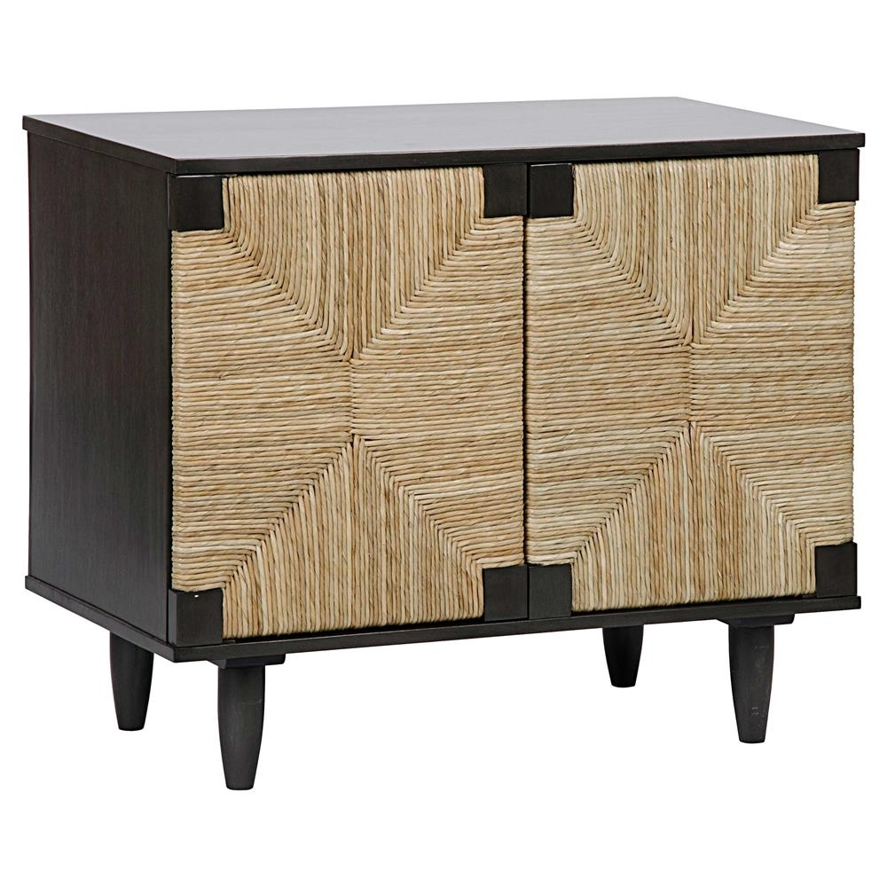 Landon Coastal Beach Brown Rush Seagrass Black Mahogany 2 Door Sideboard Within Best And Newest Jaxon Grey Sideboards (#15 of 20)
