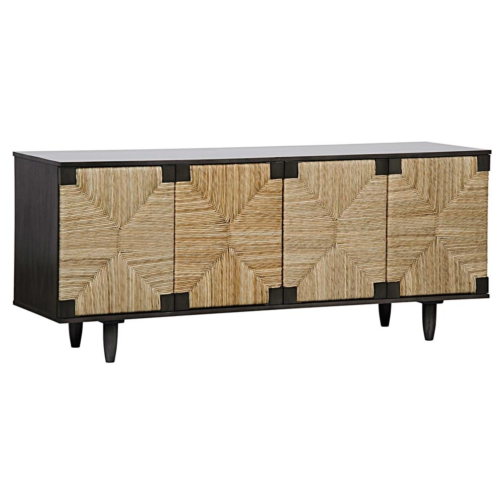 Landon Coastal Beach Brown Rush Seagrass Black Mahogany 4 Door Sideboard For Most Recent Jaxon Sideboards (View 17 of 20)
