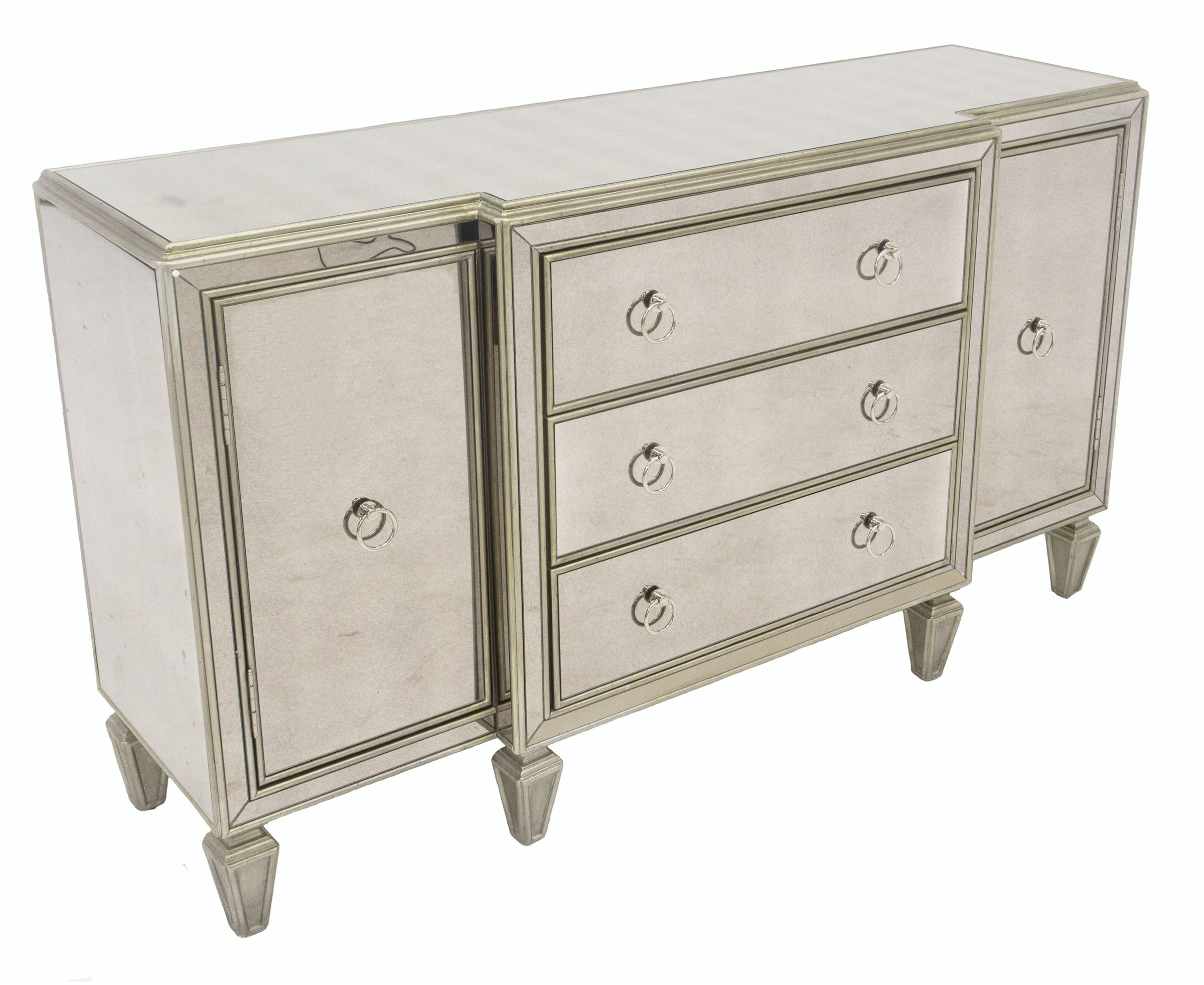 Lannister Sideboard – Antique Finish Mirrored Surface | Lux Showroom Regarding Recent Aged Mirrored 2 Door Sideboards (#17 of 20)