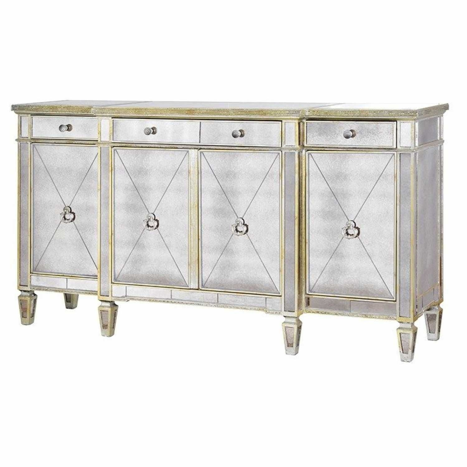 Large Antique Seville Venetian Mirrored Glass Sideboard 4 Door Intended For 2017 Aged Mirrored 4 Door Sideboards (#15 of 20)