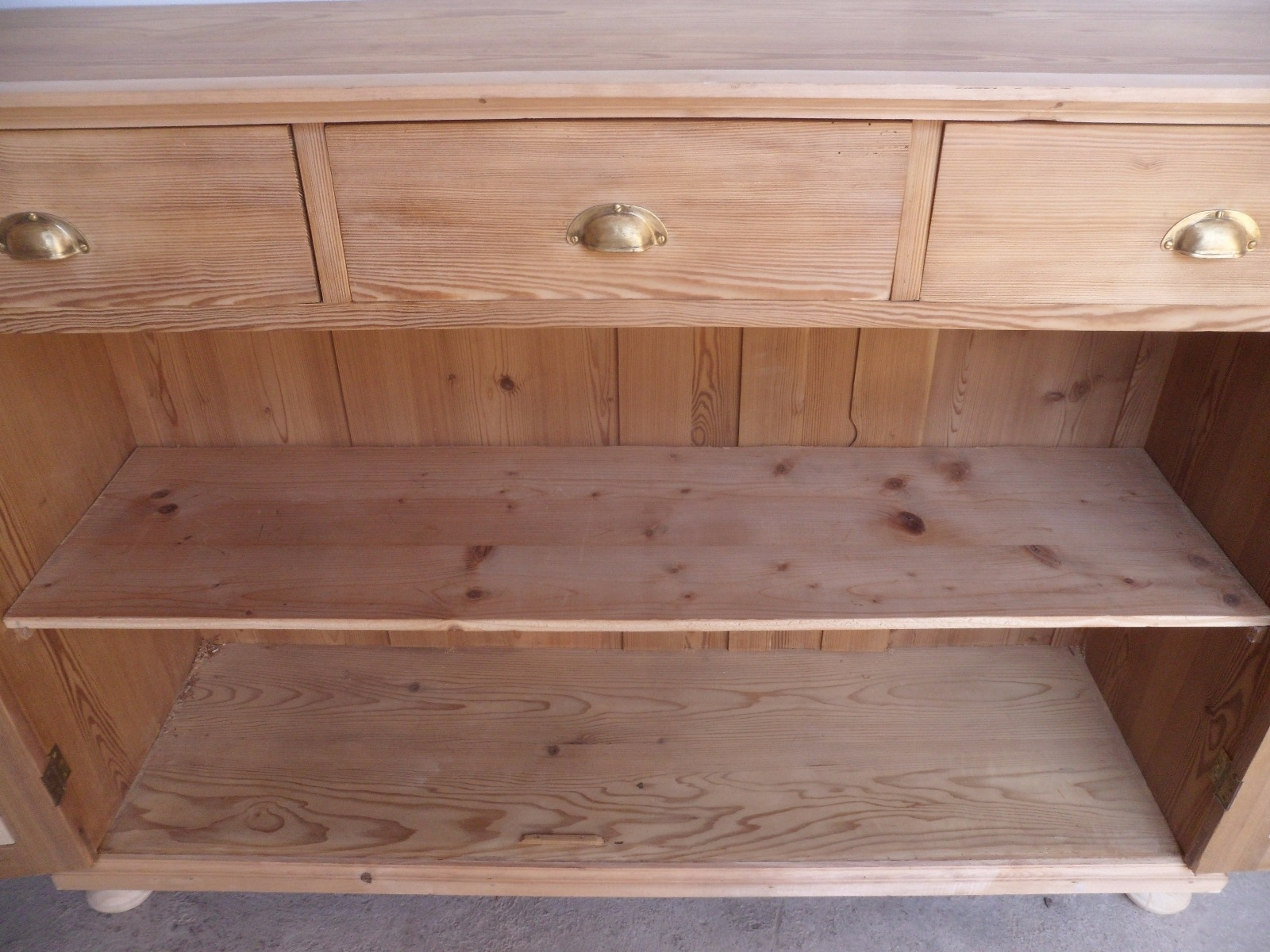 Large Narrow Old Pine 2 Door 3 Drawer Kitchen Dresser Base To Wax Inside Best And Newest Aged Pine 3 Drawer 2 Door Sideboards (#10 of 20)