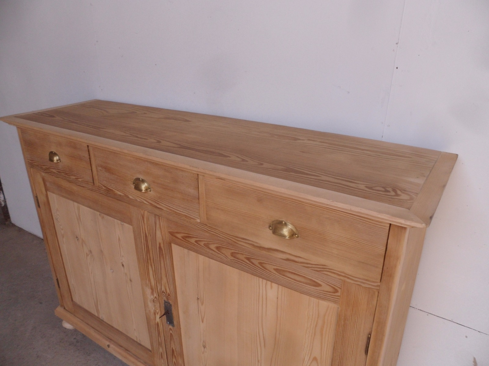 Inspiration about Large Narrow Old Pine 2 Door 3 Drawer Kitchen Dresser Base To Wax Inside Best And Newest Aged Pine 3 Drawer 2 Door Sideboards (#6 of 20)