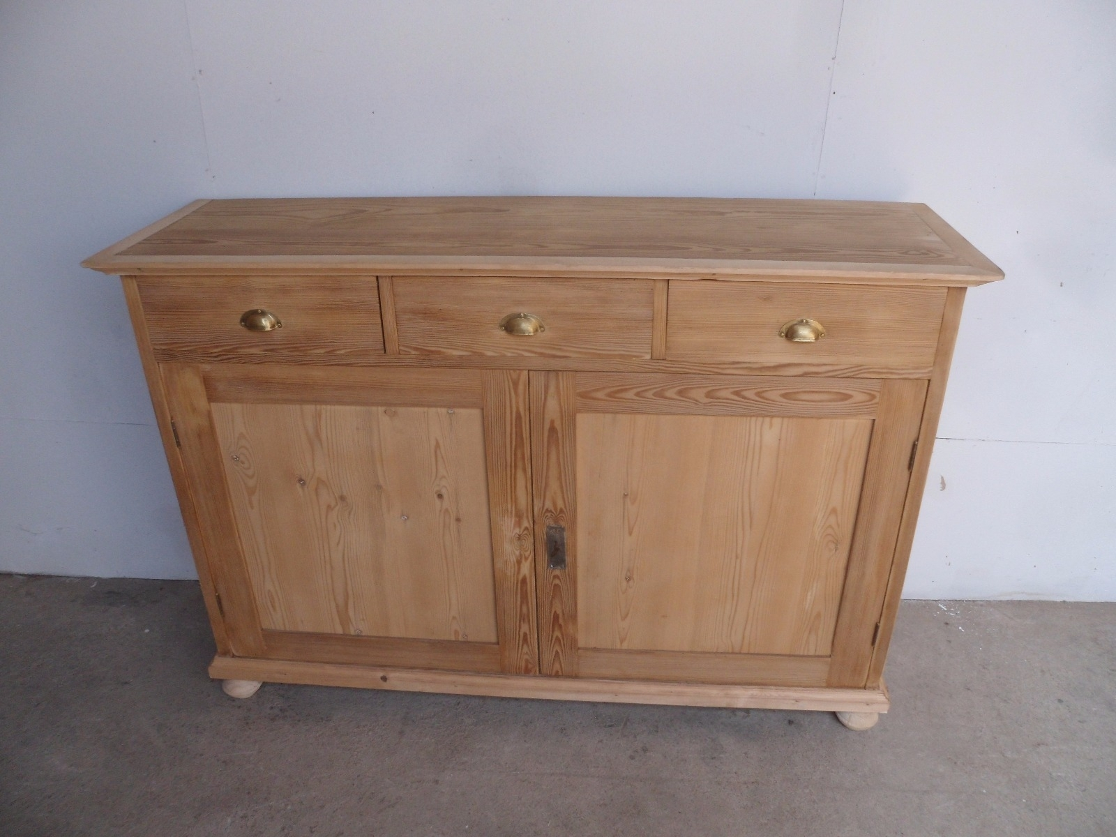 Inspiration about Large Narrow Old Pine 2 Door 3 Drawer Kitchen Dresser Base To Wax Regarding 2017 Aged Pine 3 Drawer 2 Door Sideboards (#2 of 20)