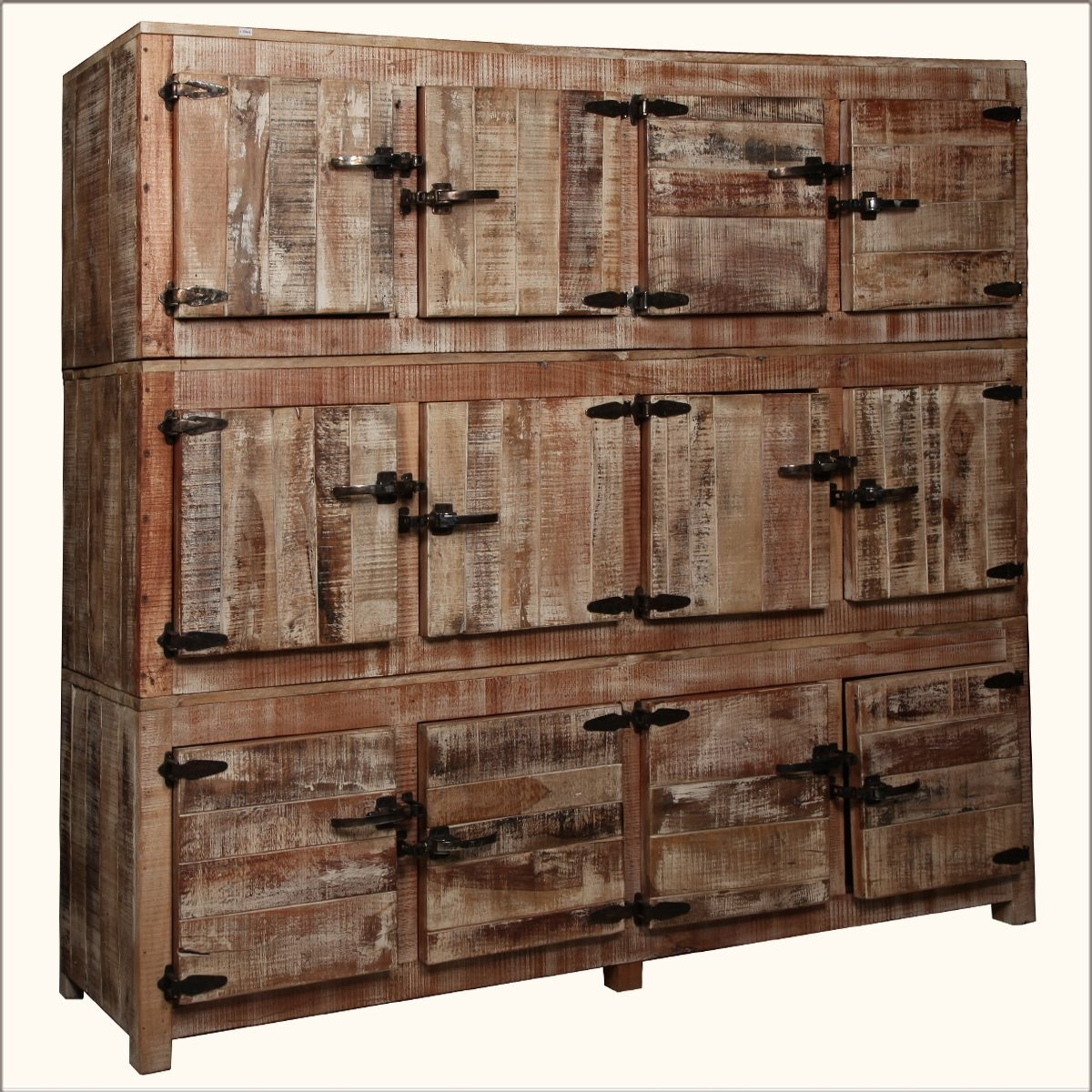 Inspiration about Large Rustic Reclaimed Wood 12 Storage Box Wall Unit Storage Cabinet Regarding Newest Reclaimed 3 Drawer Icebox Sideboards (#13 of 20)
