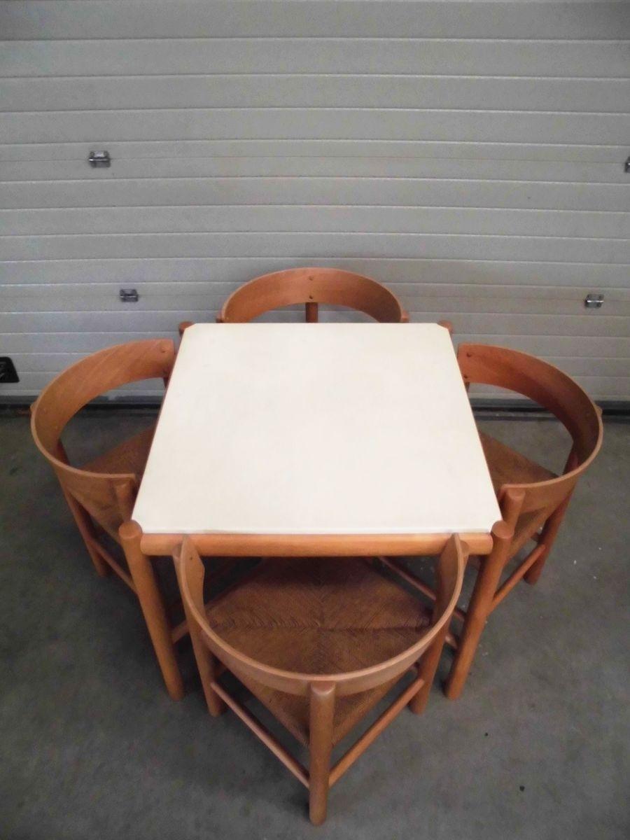 Lassen Side Chairs Inside Famous Vintage Dining Setmogens Lassen For Fritz Hansen, 1963, Table (#9 of 20)