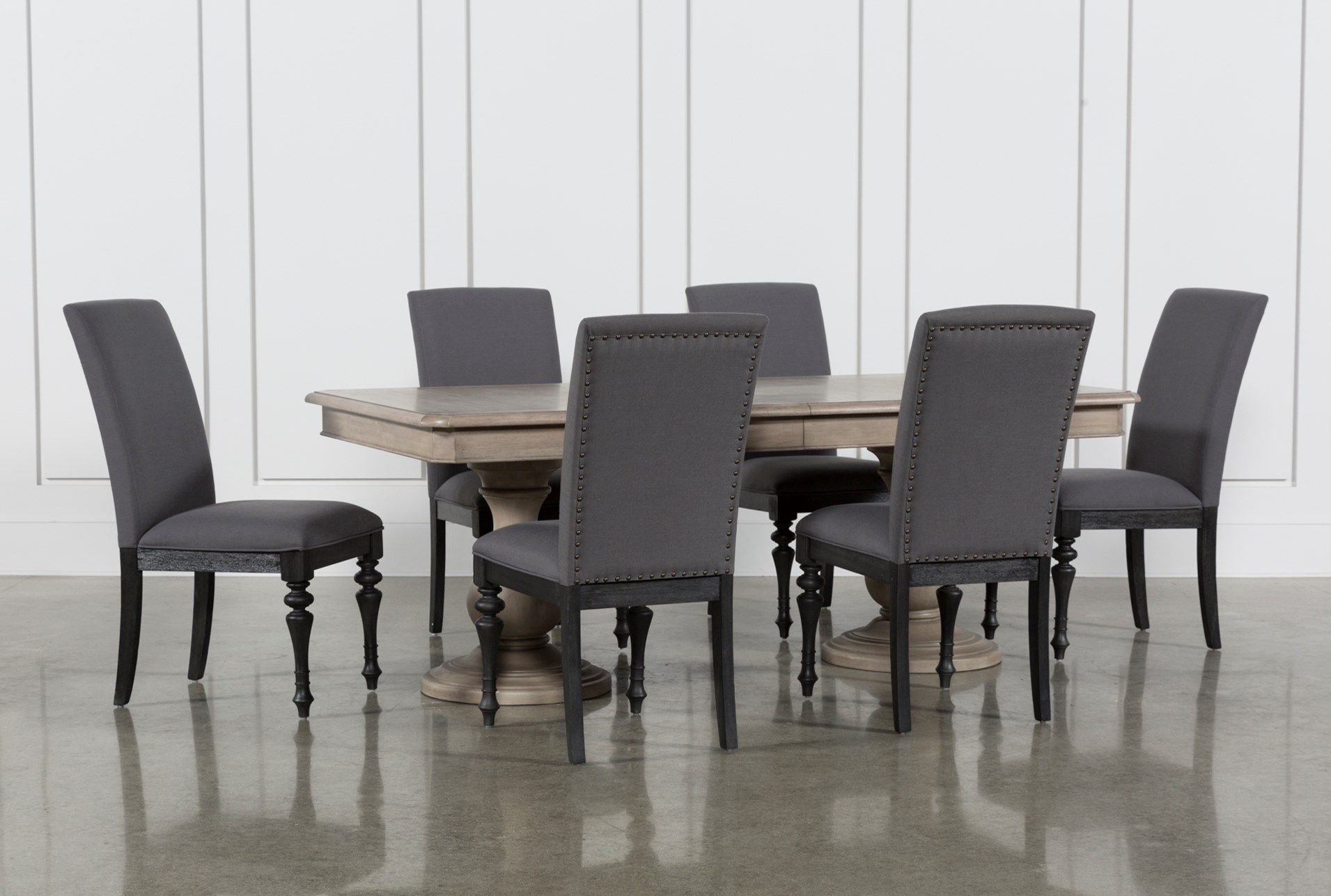 Latest Caira Black Upholstered Side Chairs Pertaining To Caira 7 Piece Rectangular Dining Set With Upholstered Side Chairs (#9 of 20)