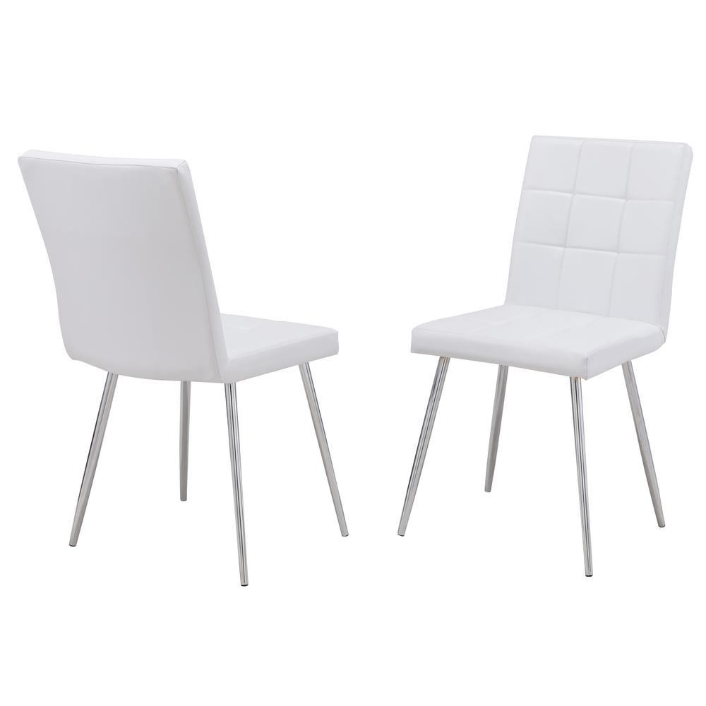 Latest Carolina Cottage Jaxon White Leatherette Upholstered Dining Chair Intended For Jaxon Grey Wood Side Chairs (#12 of 20)
