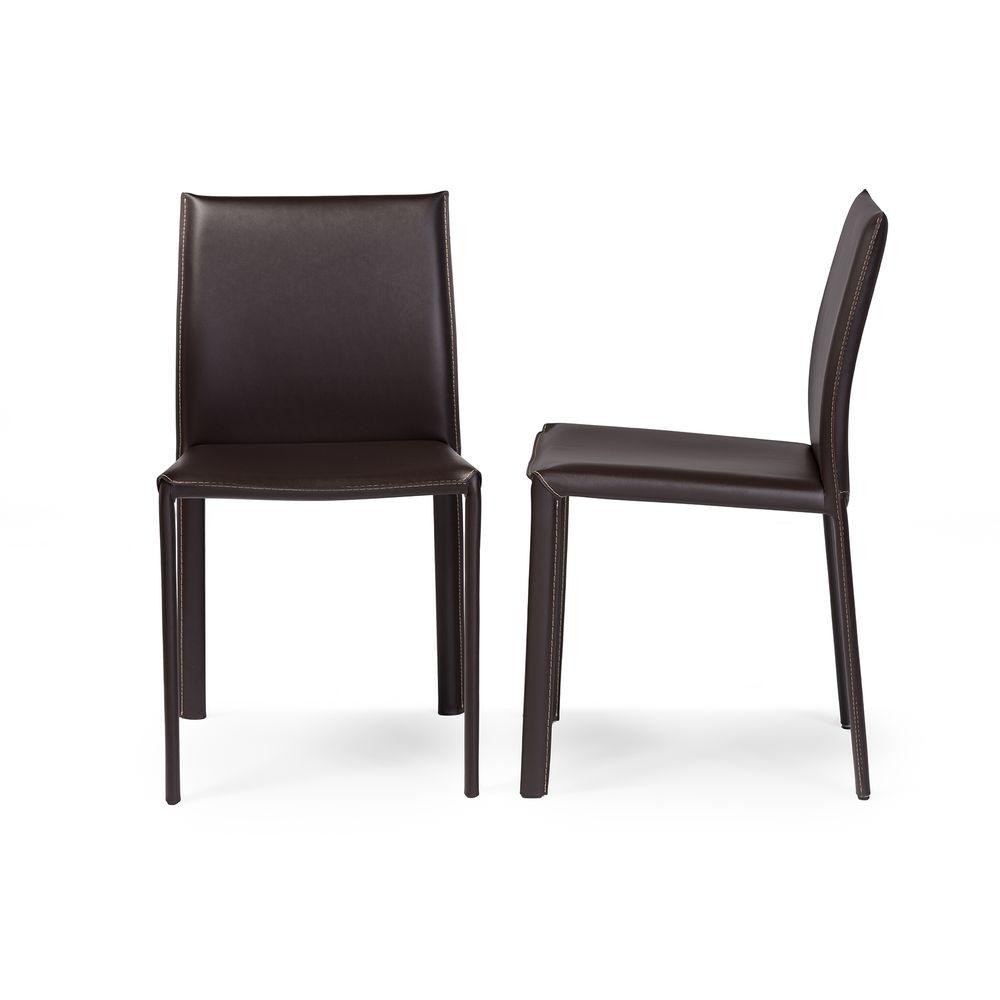 Inspiration about Latest Crawford Side Chairs Pertaining To Baxton Studio Crawford 2 Piece Brown Faux Leather Upholstered Dining (#14 of 20)