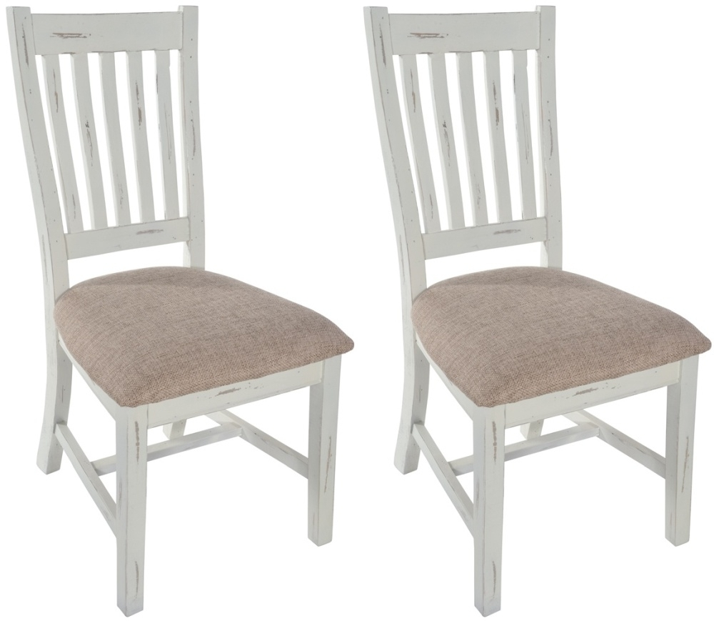 Latest Kent Dining Chairs Inside Kent White Painted Distressed Reclaimed Wood Slatted Back Dining (#11 of 20)