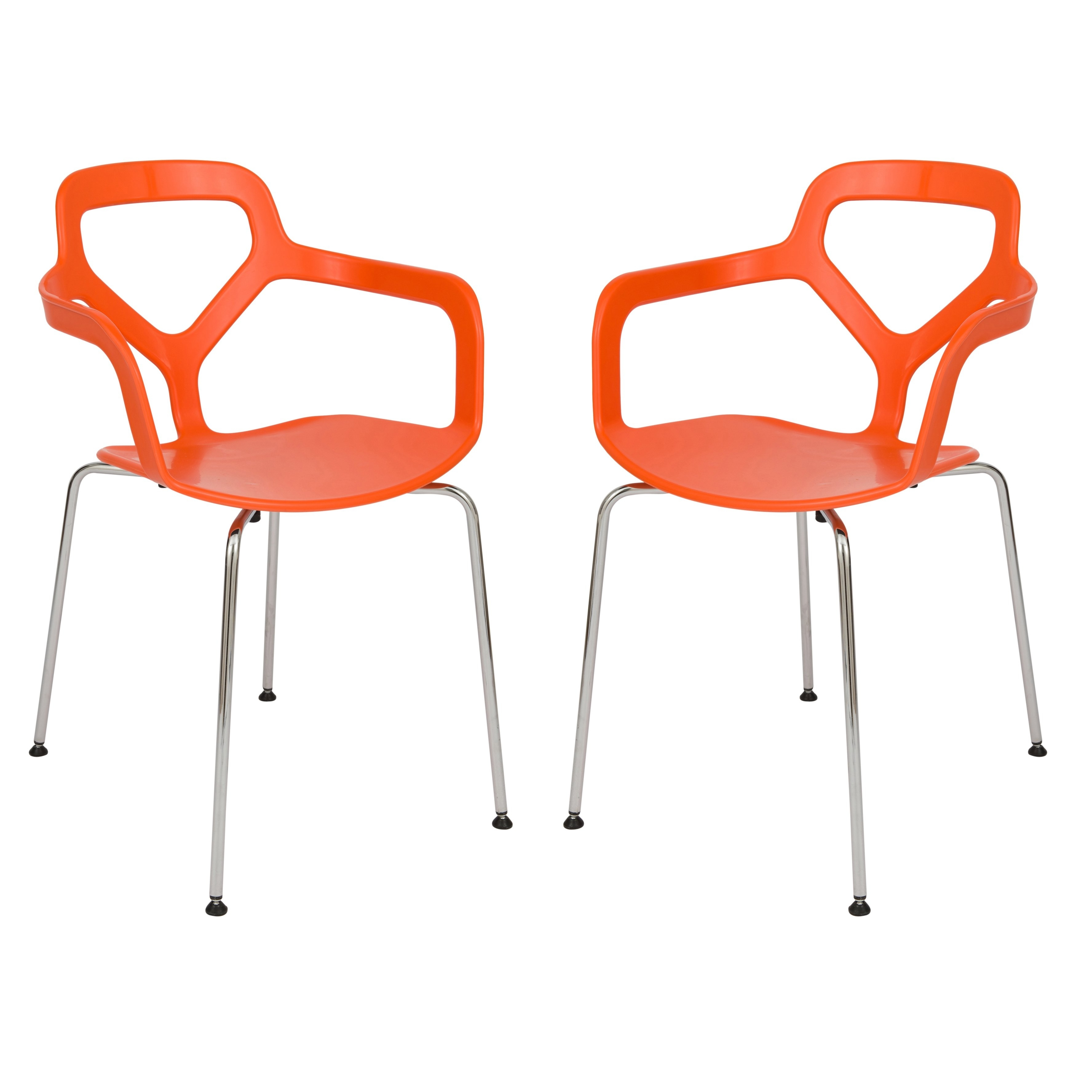 Inspiration about Latest Mod Ii Arm Chairs Regarding Leisuremod Modern Carney Orange Arm Chair W/ Chrome Legs, Set Of 2 (#8 of 20)