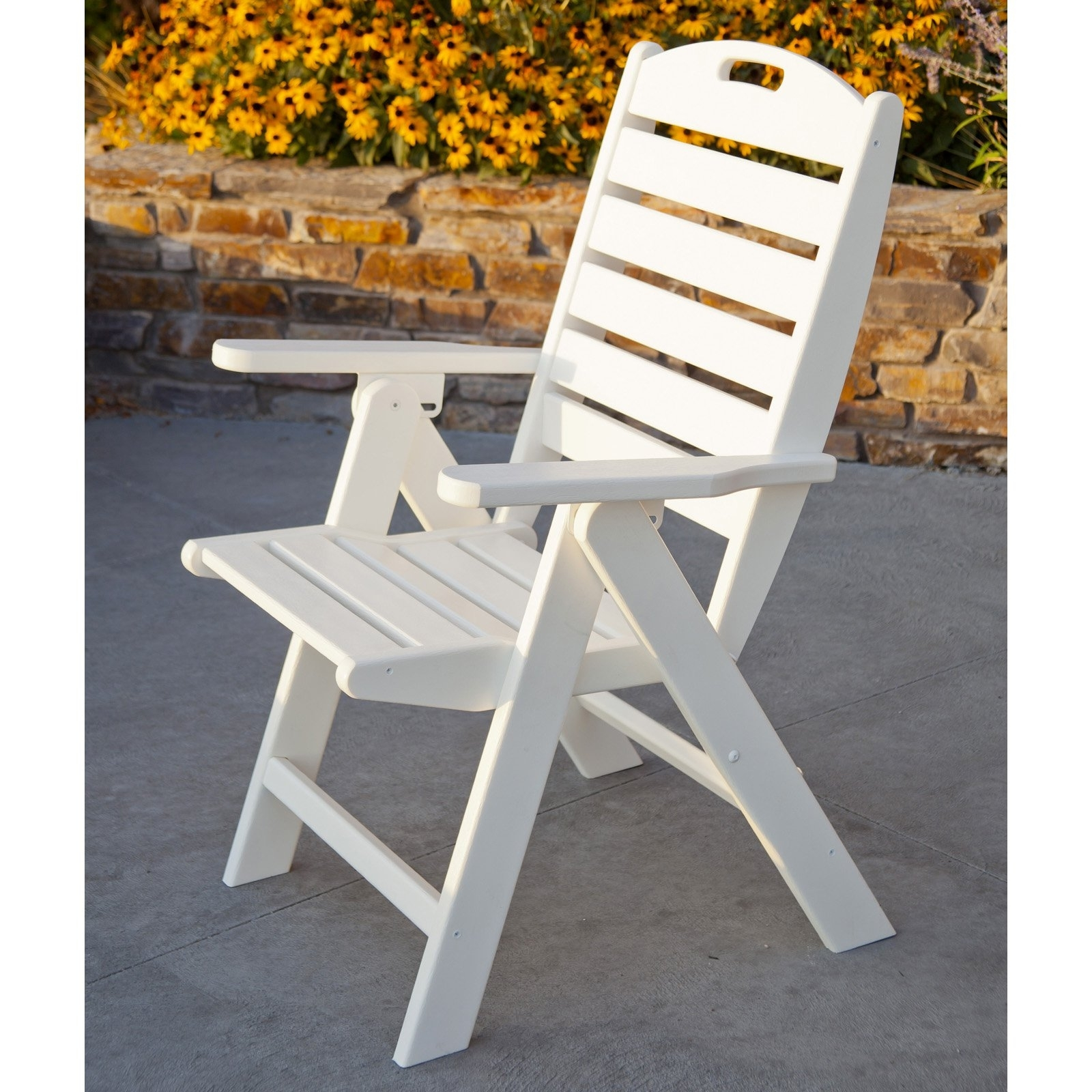 Inspiration about Latest Polywood® Nautical Recycled Plastic Highback Patio Chair Intended For Nautical Blue Side Chairs (#18 of 20)