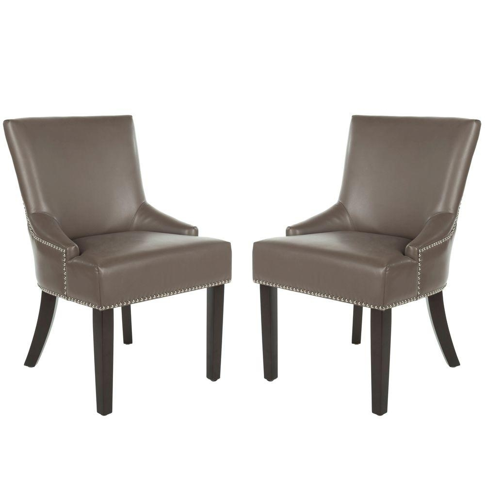 Latest Safavieh Lotus Black/espresso Bicast Leather Side Chair (Set Of 2 Inside Hayden Ii Black Side Chairs (#12 of 20)