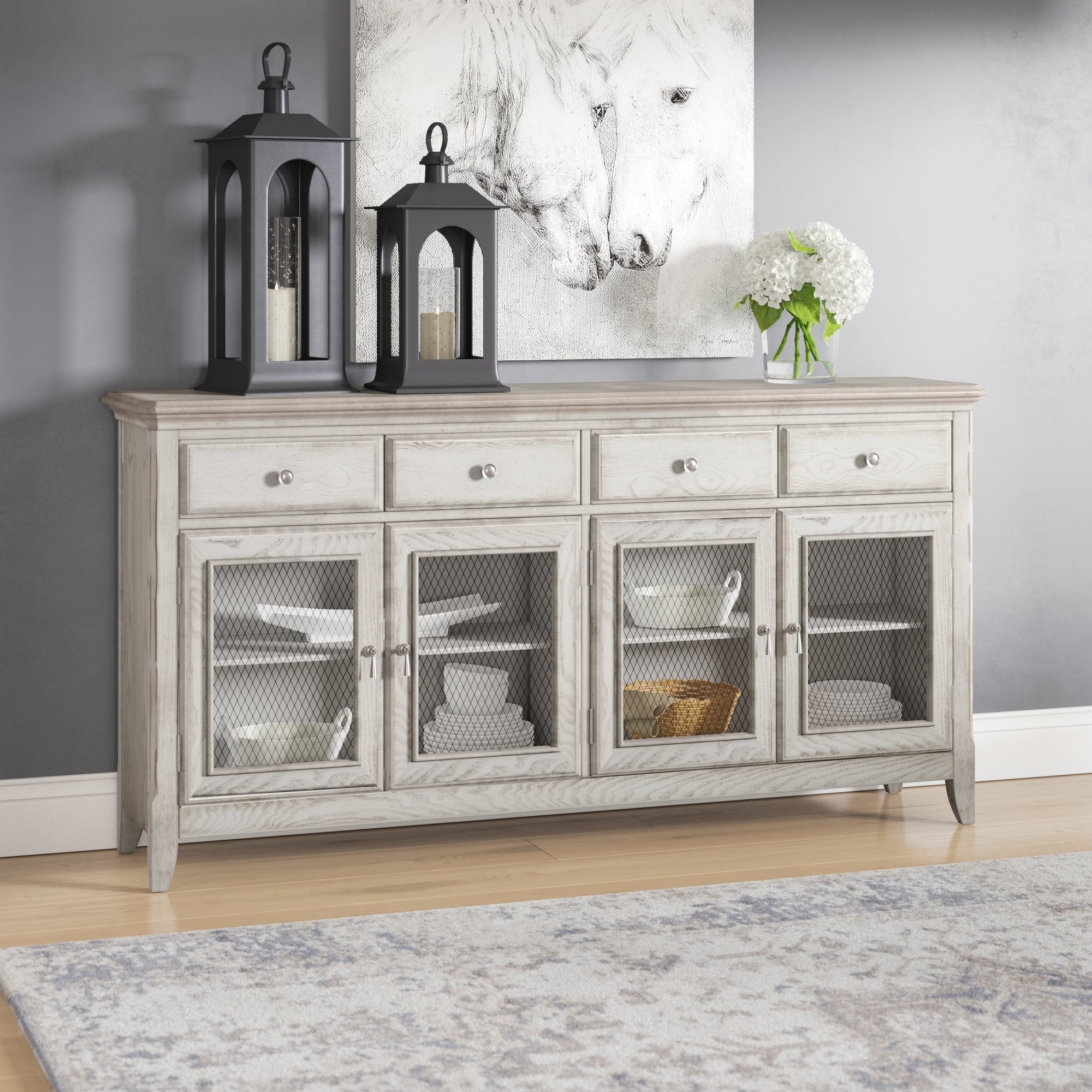 Laurel Foundry Modern Farmhouse Guerrera 4 Door Credenza With Wire Throughout 2017 4 Door 4 Drawer Metal Inserts Sideboards (#12 of 20)