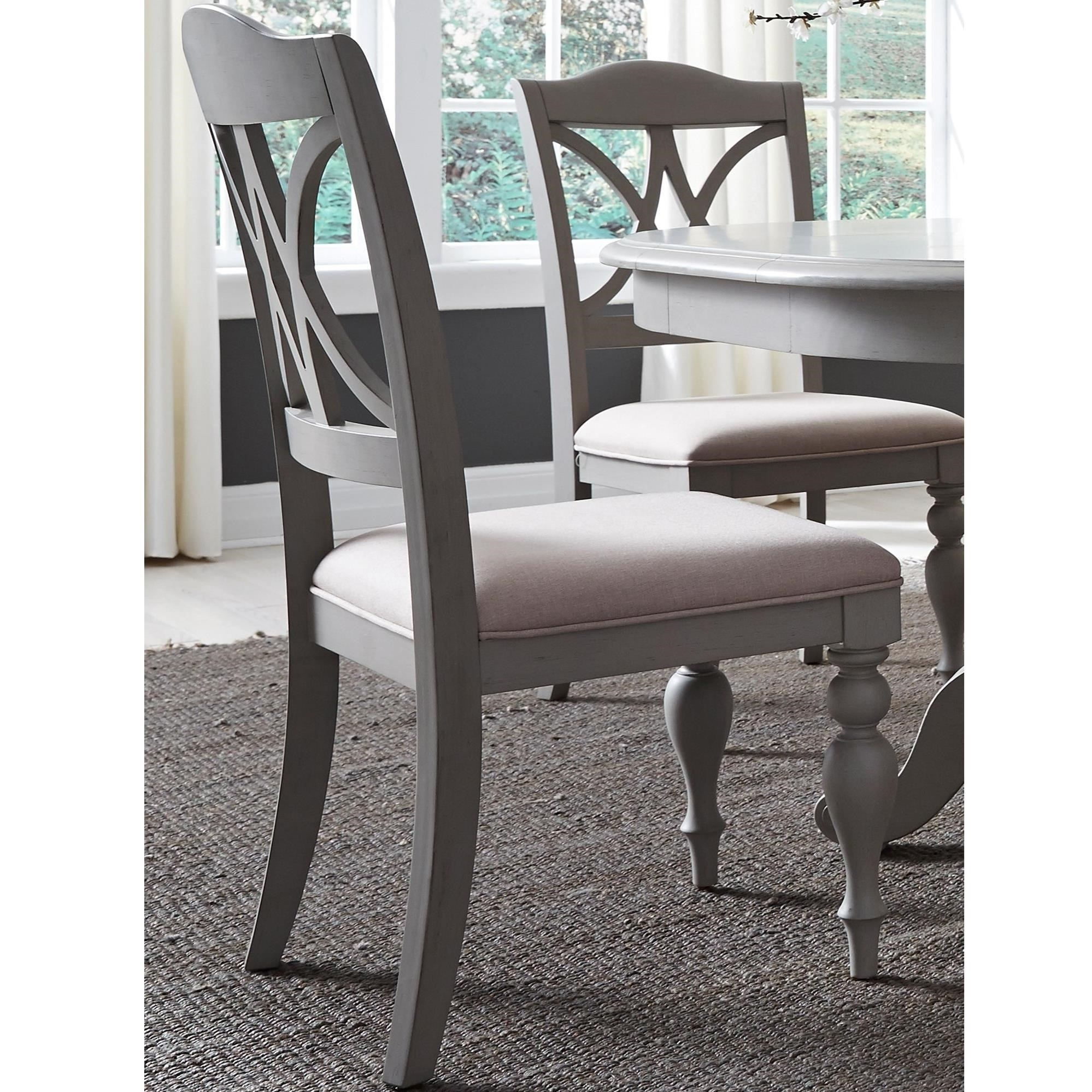 Liberty Furniture Summer House Dining Transitional Upholstered Splat Intended For Favorite Lindy Dove Grey Side Chairs (View 7 of 20)