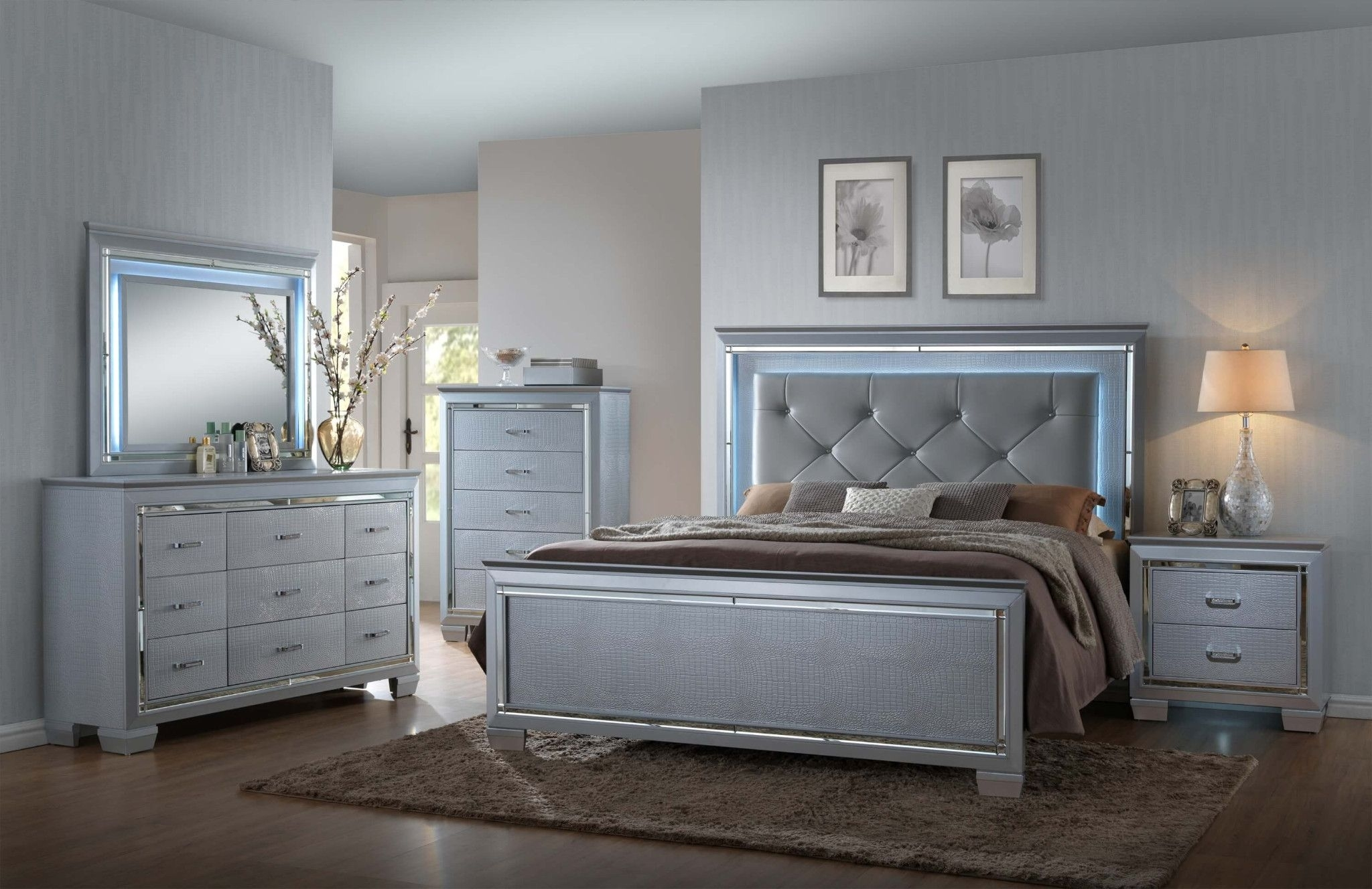 Lillian 5 Piece Bedroom Led Backlighting Accents On Headboard And With Most Current Hartigan 2 Door Sideboards (View 17 of 20)