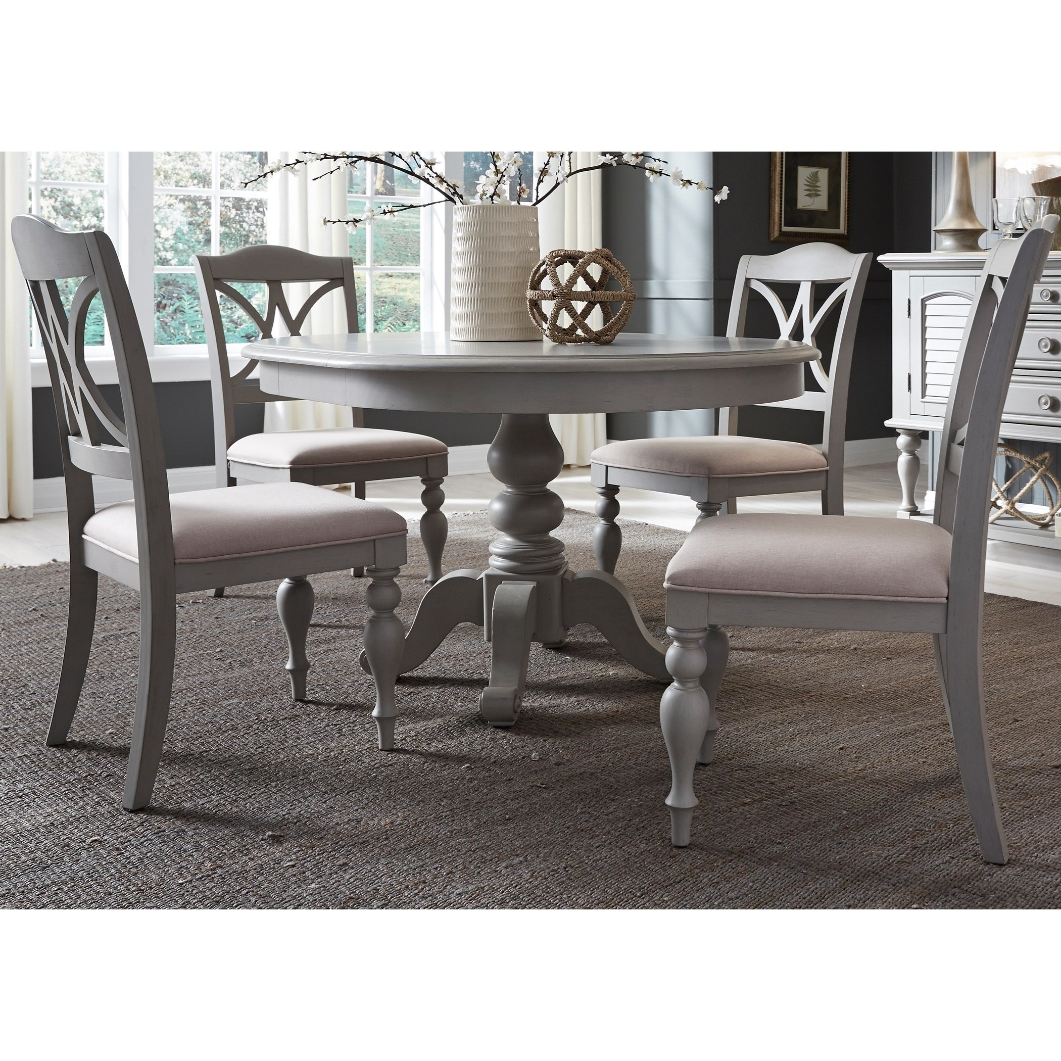 Lindy Dove Grey Side Chairs Throughout Well Known Liberty Furniture Summer House Dining 5 Piece Pedestal Table Set (View 9 of 20)