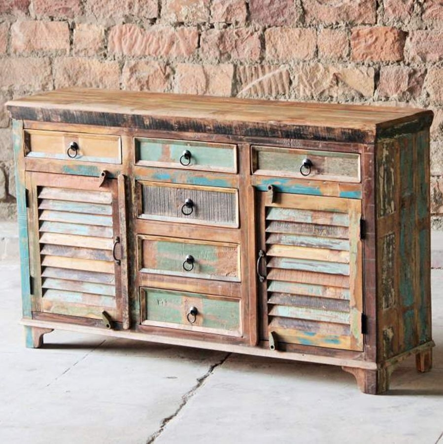 Inspiration about Little Tree Mary Rose Upcycled 6 Door Sideboard Throughout Current Corrugated Natural 6 Door Sideboards (#3 of 20)