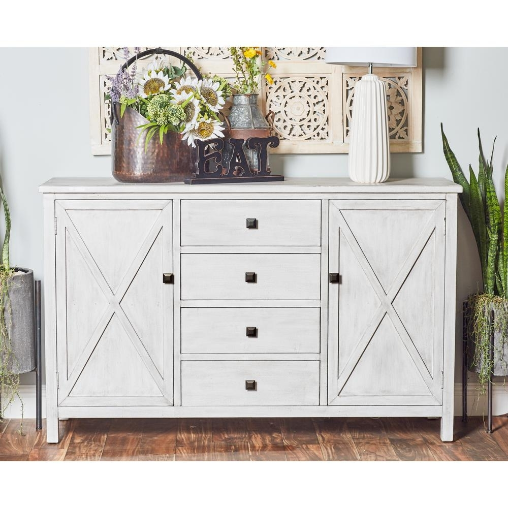 Inspiration about Litton Lane 57 In. X 36 In. Farmhouse Style Rectangular Buffet White Within Most Popular 4 Door 3 Drawer White Wash Sideboards (#18 of 20)