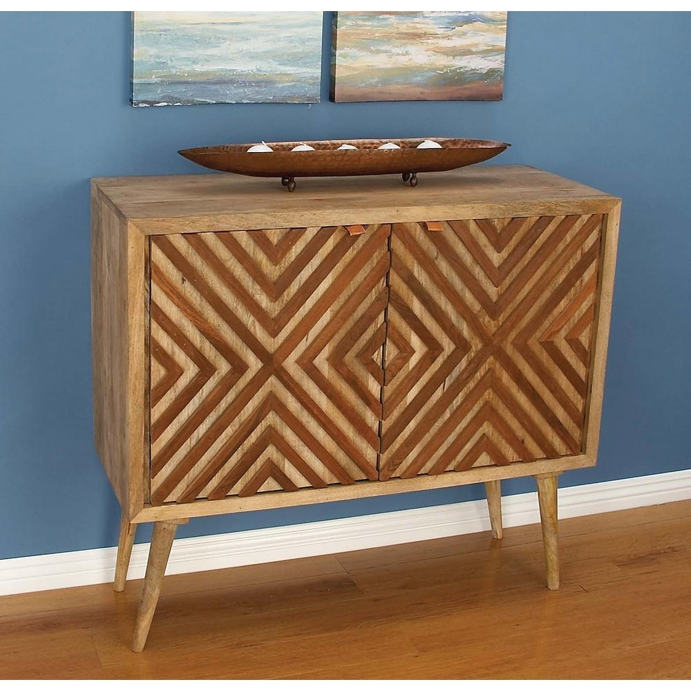 Inspiration about Litton Lane Chevron Patterned Wooden Brown Cabinet 77675 – The Home With Latest Brown Chevron 4 Door Sideboards (#9 of 20)