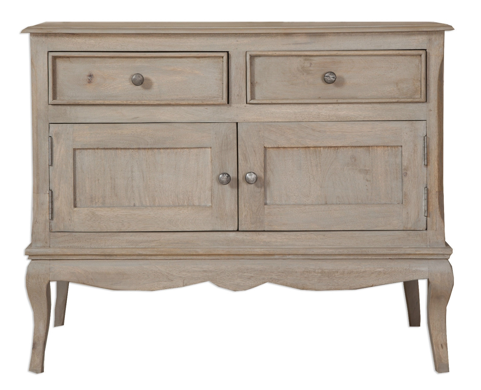 Loire French Grey Solid Mango Wood 2 Door / 2 Drawer Sideboard Inside Latest Mango Wood Grey 4 Drawer 4 Door Sideboards (#8 of 20)