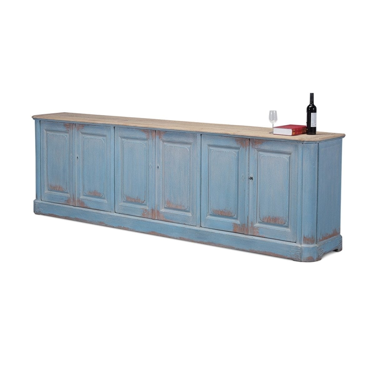 Inspiration about Long Rustic Solid Wood Sideboard, 10 Foot Long Buffet With Regard To Latest Light Brown Reclaimed Elm & Pine 84 Inch Sideboards (#4 of 20)